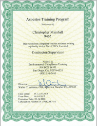 Chris Marshall Asbestos Certified