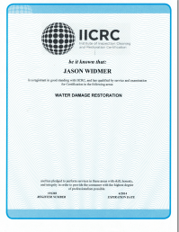 Jason Widment IICRC Certified for Water Damage Restoration