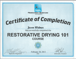 Jason Widmer Certified Restorative Drying