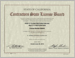 KIC Restoration California State License Board Building Contractor