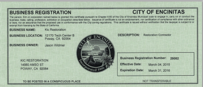 KIC Restoration Encinitas Business License