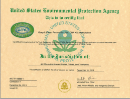 KIC Restoration Environmental Protection Agency certified business